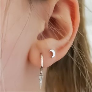 Solid 925 sterling silver crescent moon studs